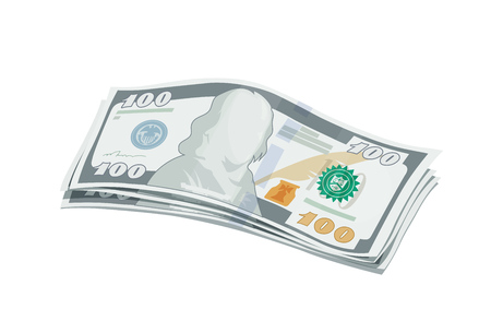 Batch of new one hundred dollars bank note. Cash for Business. Finance.  vector illustration, eps10 isolated white background