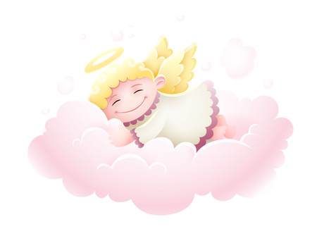 Pretty Angel cupid baby with wings sleeping on pink fluffy cloud. Illustration