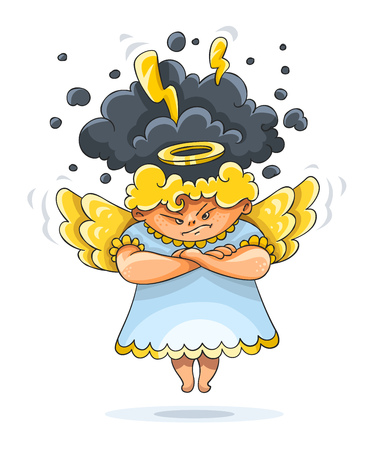 Cartoon angry furious guardian angel funny character with wings and nimbus. Black clouds with thunderstorm lightnings over head, isolated white background. Eps10 vector illustration. Reklamní fotografie - 75533944