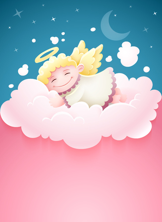 Pretty angel baby with wings sleeping at pink fluffy cloud under nighttime sky with Moon and stars cartoon vector illustration with copyspace, place for text.