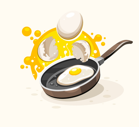 Eggs frying in the hot pan