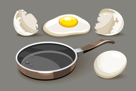 Pan with oil and eggs