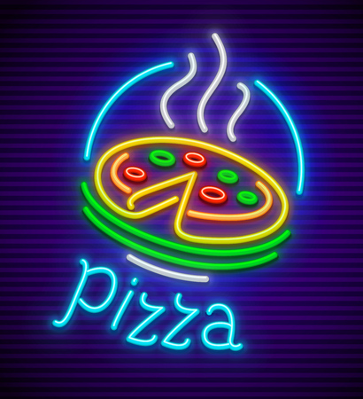 Italian pizza neon sign for signboard with illumination for cafe. vector illustration.