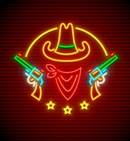 Texan western hat with guns. Neon signboard for bar or club. Wild West neon sign with nighttime illumination. EPS10 vector illustration. Illustration