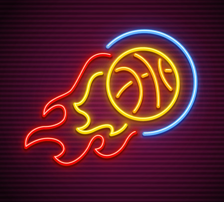 Basketball ball fly and burn as comet neon sign for sporting club or stadium. Vector illustration.