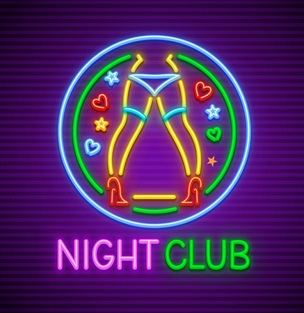 Striptease club neon sign for nighttime entertainment for adults. Neon dancing female legs of dancer girl in underwear and red shoes with heels. EPS10 vector illustration.