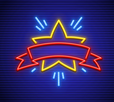 Victory, winning symbol in game. Neon star with ribbon for inscription. Sign icon of neon lamps with illumination. EPS10 vector illustration.