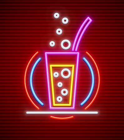 Cocktail bar in Neon sign. Glass with carbonated drink and tube made of neon lamps with illumination in circle. Illustration