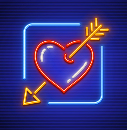 Heart stricken by gold arrow. Neon icon for sign. Love symbol made of neon lamps with illumination. Vector illustration.
