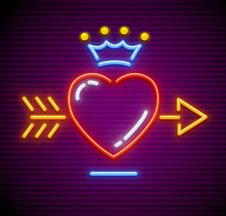 Love Heart stricken by gold arrow. Neon icon for sign with Royal crown. Symbol of love made of neon lamps with illumination. EPS10 vector illustration. Standard-Bild - 99729587