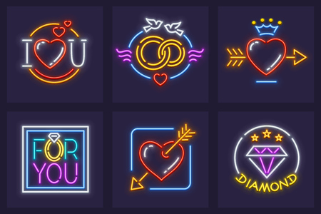 Set of icons for wedding and marriage neon signs with heart love symbols.