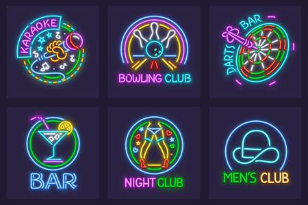 Satz Leuchtreklamen für nächtliche Unterhaltungsmöglichkeiten. Karaoke-Bar, Bowling Club, Darts, Striptease und Mens Club. EPS10 Vektorillustration.