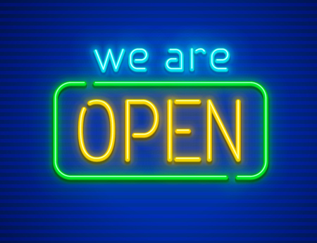 We are open. Neon sign for nighttime institutions or clubs. Made of neon lamps with illumination. EPS10 vector illustration.