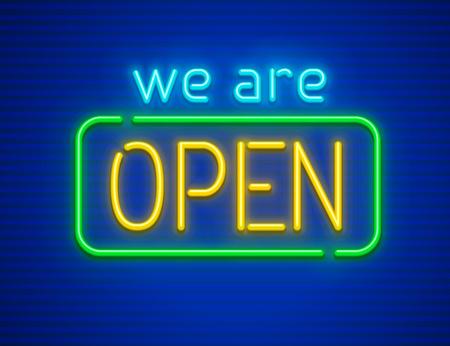 Wir sind offen. Leuchtreklame für Nachtinstitutionen oder Clubs. Aus Neonlampen mit Beleuchtung. EPS10 Vektorillustration.