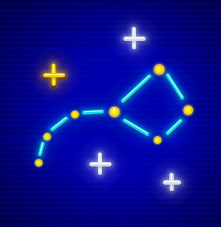 Big Dipper (Ursa Major or Great Bear) astronomic constellation icon with neon stars. EPS10 vector illustration. Vectores