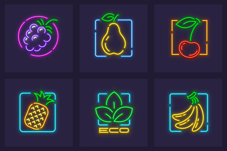 Set of neon icons of fruits and berries. Pear, cherry, tropical pineapple and banana, ecologically clean organic food for healthy lifestyle.
