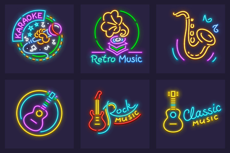 Set of neon icons with musical instruments. Microphone for karaoke, rock and classic guitars, retro gramophone, saxophone for entertaining clubs. Neon signs with nighttime illumination. EPS10 vector illustration. Illustration