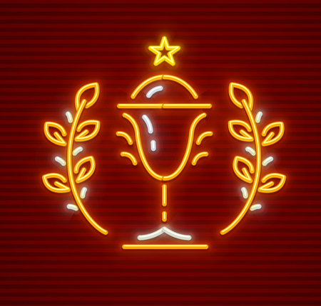 Gold cup for winner in championship sports competition. First place award for champions. Neon icon. EPS10 vector illustration. 矢量图像