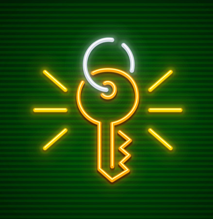 Key password for access control to secret information. Data protection concept neon icon. EPS10 vector illustration.