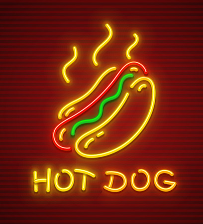 Hot dog neon icon. Fast food hot sausage in loaf. EPS10 vector illustration.