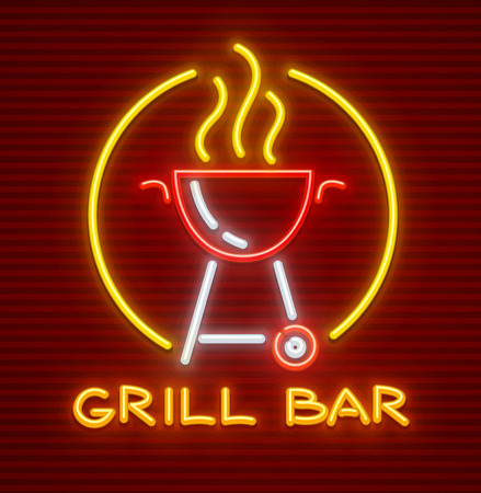 Grill bar neon icon. Equipment for bbq picnic. Barbecue for frying meat on fire. EPS10 vector illustration.