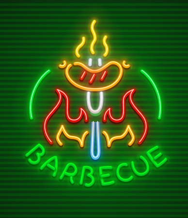 Barbecue party neon icon. Roasted at grill hot sausage in fire at fork. EPS10 vector illustration. Illusztráció