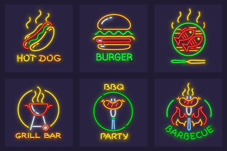 Set of neon icons for barbecue and cooking food on grill for picnic. Hot dog, burger, grilled fishes and sausages on fire for bbq grill party. EPS10 vector illustration.