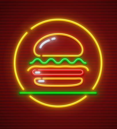 Burger neon icon. Hamburger fast food symbol with illumination. EPS10 vector illustration. Vettoriali