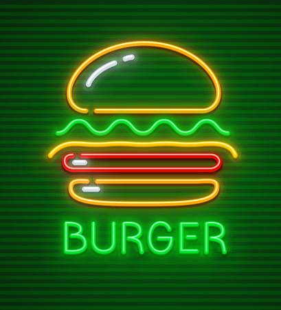 Burger neon icon. Hamburger fast food symbol with illumination on green background. EPS10 vector illustration. Vettoriali