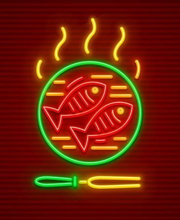 Fishes barbeque at hot fry pan. Bbq fish picnic neon icon. EPS10 vector illustration.