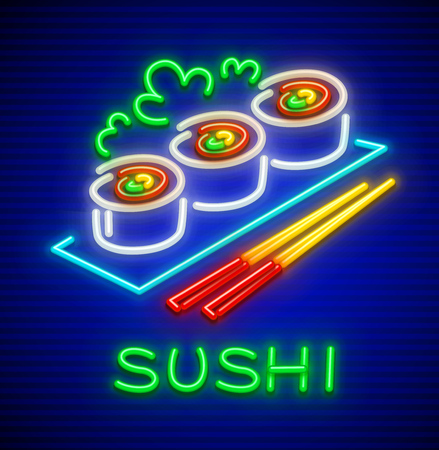 Sushi set. Neon icon of japanese food at plate with chopsticks for sushi eating. EPS10 vector illustration. Vettoriali