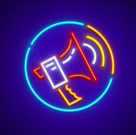 Loud-speaker neon icon. EPS10 vector illustration. Vettoriali