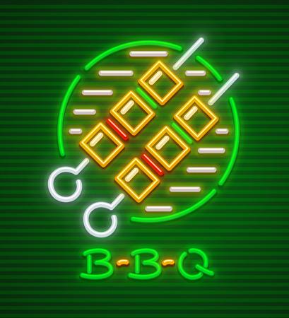 Meat shashlik grill barbecue fro picnic neon icon.
