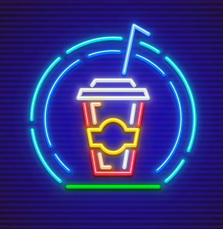Cola takeaway sparkling drink in glass with pipe neon icon for fast food. Vettoriali