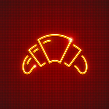 French croissant for breakfast neon icon. Sweet fancy baking loaf.