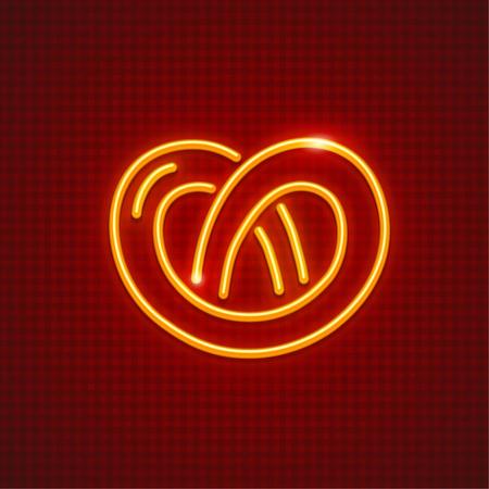 Pretzel neon icon. Sweet fancy baking loaf.