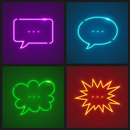 Set of message clouds neon icons templates with place for text.