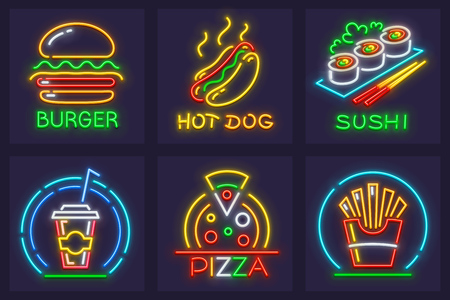 Set of fast food neon icons. Hamburger, hot dog, italian pizza, japanese sushi, french-fried potatoes and cola beverage in paper cup.