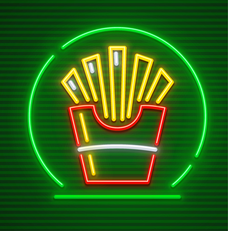 French-fried potatoes in paper cup neon icon for fast food sign.