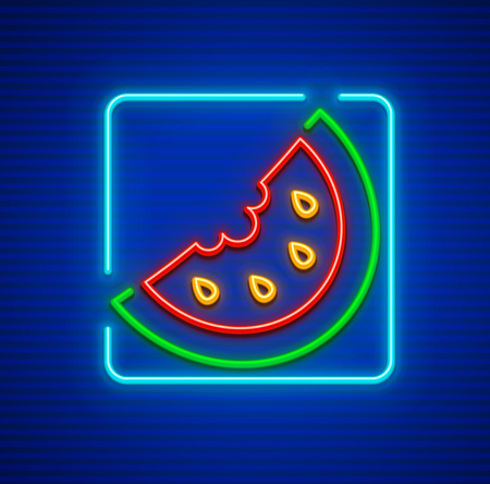 Sweet red watermelon neon icon section of fresh ripe berry fruit with ossicles.