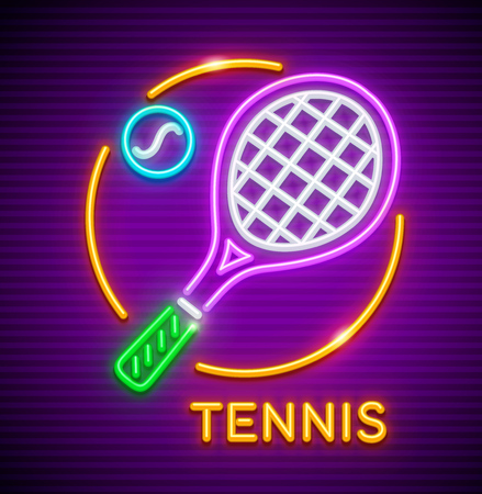 Neon icon with racket and ball for playing big tennis at court. Sporting equipment.