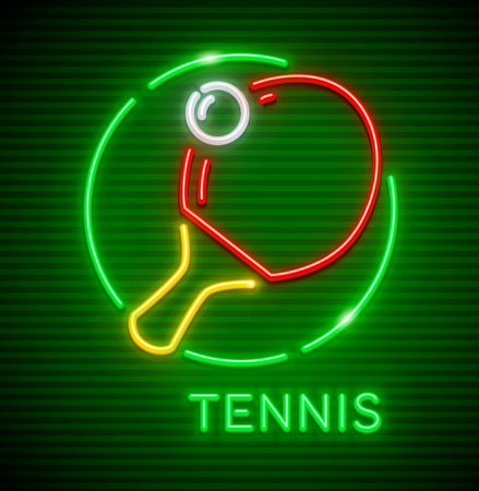 Neon icon with racket and ball for playing table tennis, table tennis game. Sporting equipment. EPS10 vector illustration