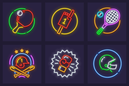 Set of neon icons for sporting games. Rackets and balls for playing table and big tennis, bats, helmets for baseball and american football, boxing glove. Vettoriali