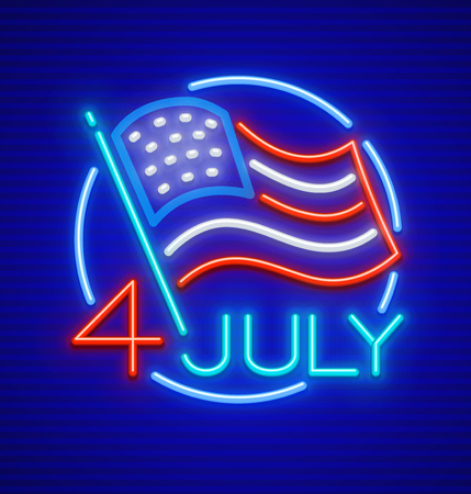 Independence Day, 4 of July. The United States of America USA national flag in circle. Neon icon. EPS10 vector illustration. Vettoriali