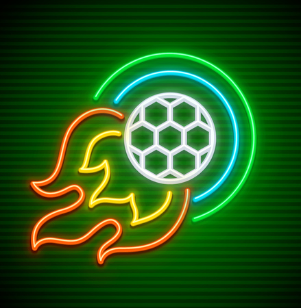 Football ball flying over green field like comet neon icon. EPS10 vector illustration.