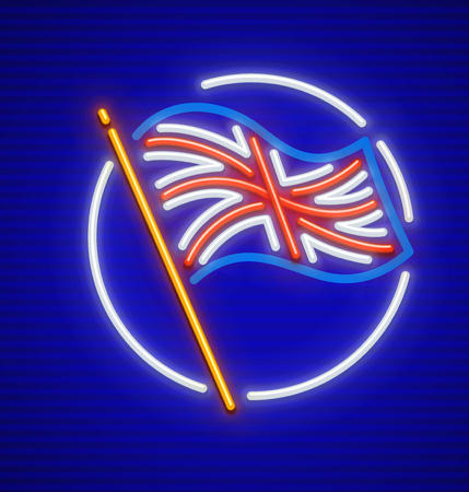 Great Britain english flag in circle neon icon. EPS10 vector illustration.