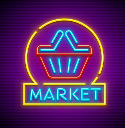 Shopping cart basket with arrow in supermarket neon sign icon for grocery store. EPS10 vector illustration. Vettoriali
