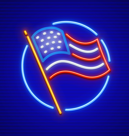 The United States of America USA national flag in circle. Neon icon. EPS10 vector illustration. Vettoriali