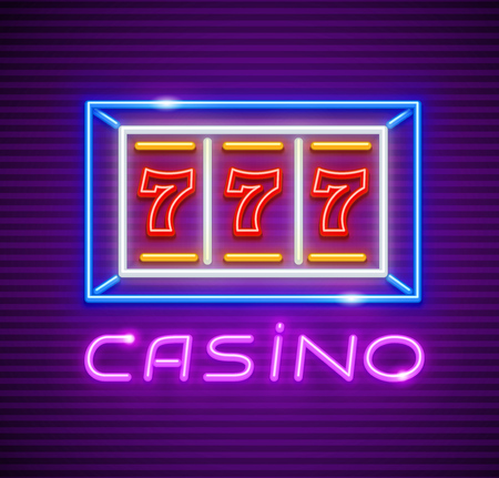 Casino playing slot-machine with jackpot 777 winning at screen. Neon icon. Vector illustration.