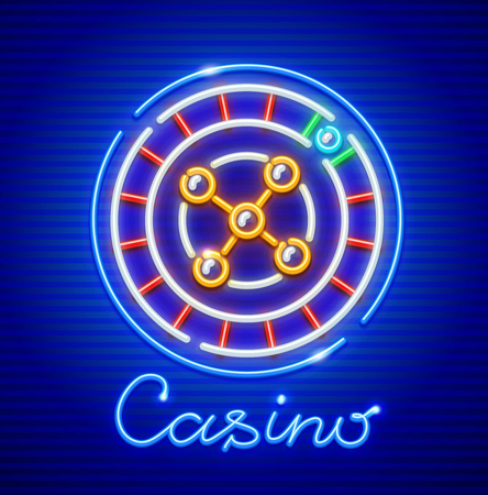Roulette in casino. Neon icon. Excitable game for money nightlife entertainment sign. EPS10 vector illustration.